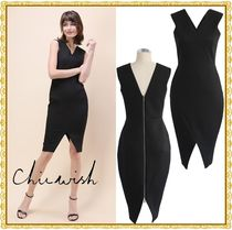 Chicwish Tight Sleeveless V-Neck Plain Medium Dresses