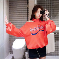 Street Style Long Sleeves Plain Cotton Medium High-Neck