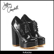Jeffrey Campbell Plain Toe Plain Leather Office Style Chunky Heels