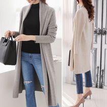Wool Long Sleeves Plain Long Gowns Elegant Style Cardigans
