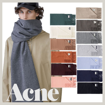 Acne Unisex Wool Plain Scarves