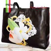 PRADA Black Floral Print Soft Calf Leather Tote Bag