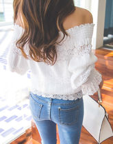 Casual Style Plain Medium Lace Bandeau & Off the Shoulder