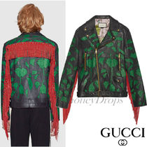 GUCCI Short Leather Fringes Biker Jackets