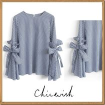 Chicwish Crew Neck Stripes Short Sleeves Shirts & Blouses