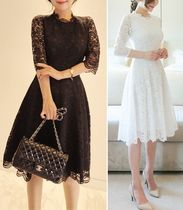 Flower Patterns Flared U-Neck Medium Short Sleeves Midi Lace