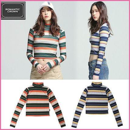 Short Stripes Casual Style Long Sleeves Cotton High-Neck