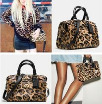 Coach Leopard Patterns Casual Style 2WAY Leather Handbags