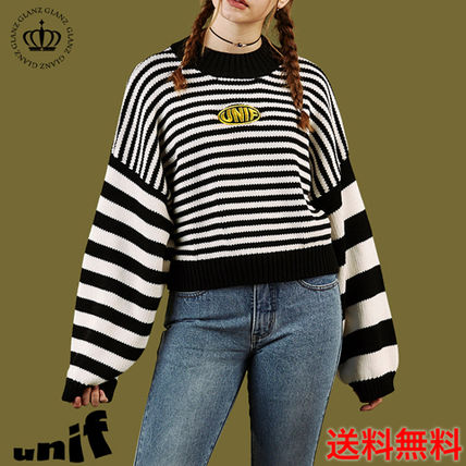 Japan still Unif cute oversized stipes knit / black and