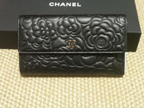 CHANEL ICON Flower Patterns Lambskin Long Wallets