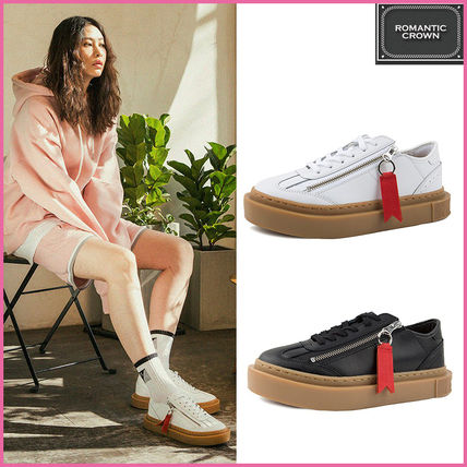 Rubber Sole Casual Style Unisex Plain Leather