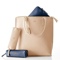 marc AND graham Unisex A4 Plain Leather Elegant Style Totes