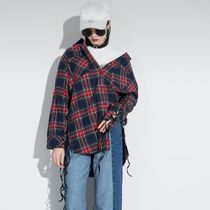 Other Check Patterns Casual Style Long Sleeves Cotton