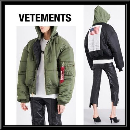 VETEMENTS Unisex Collaboration Plain MA-1 Bomber Jackets