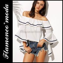 Short Stripes Bi-color Elegant Style Cropped