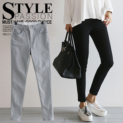 NANING9 Casual Style Street Style Plain Cotton Long Korean Brand