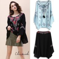 Chicwish Flower Patterns Casual Style U-Neck Medium Puff Sleeves