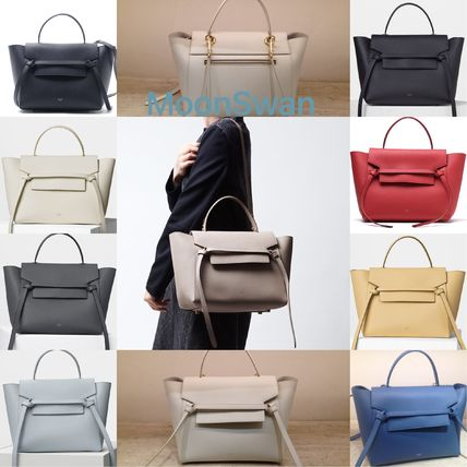 b64cf1166f62 CELINE Belt 2018-19AW A4 2WAY Plain Leather Elegant Style Handbags ...