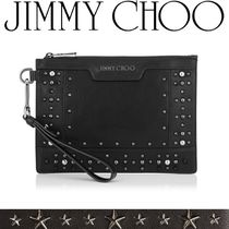 Jimmy Choo Star Studded 2WAY Plain Leather Clutches