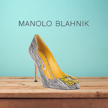 Manolo Blahnik Hangisi Stripes Leather Pin Heels With Jewels Elegant Style
