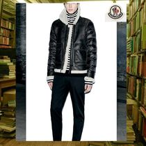 MONCLER Short Blended Fabrics Plain Leather Biker Jackets