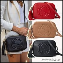 GUCCI Soho Casual Style Plain Leather Shoulder Bags