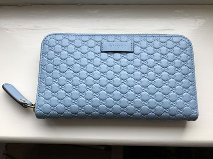e6a900fed977 ... GUCCI More Accessories Baby Blue Gucci Signature Leather Long Zip  Around Wallet ...