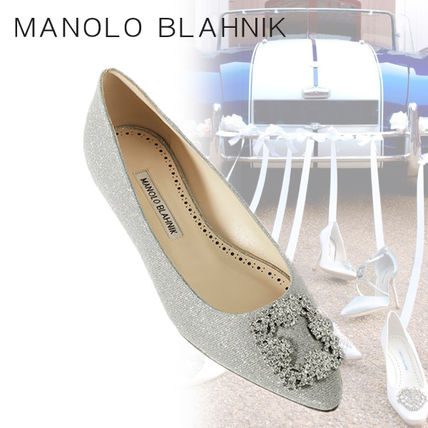 Manolo Blahnik Hangisi Plain Party Style With Jewels Flats
