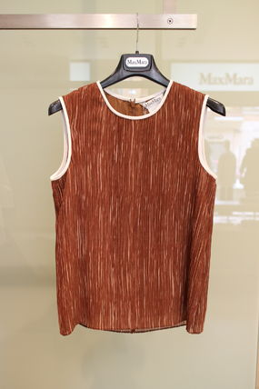 EDY MAX MARA fine pleated tops, Brown