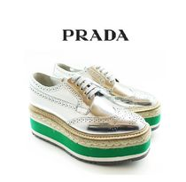 PRADA Platform Lace-up Leather Shoes
