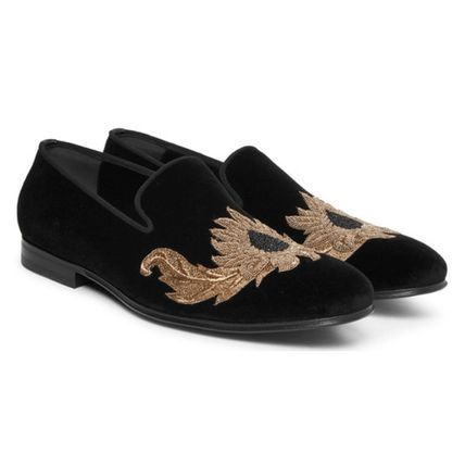 Alexander McQueen embroidery beaded velvet slippers
