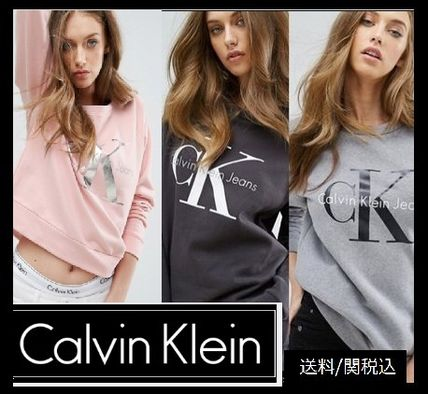Calvin Klein Crew Neck Casual Style Street Style Long Sleeves Plain