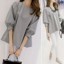U-Neck Plain Cotton Puff Sleeves Shirts & Blouses
