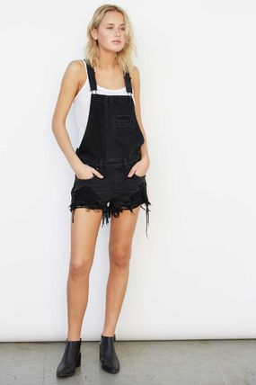 Short Dungarees Casual Style Sleeveless Street Style Plain