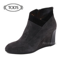 TOD'S Plain Toe Plain Leather Wedge Boots