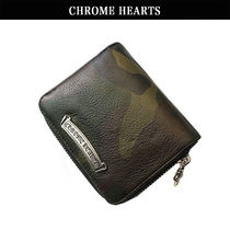 CHROME HEARTS Camouflage Unisex Leather Folding Wallets