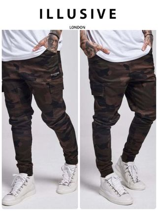 ILLUSIVE LONDON Camouflage Street Style Cotton Joggers & Sweatpants