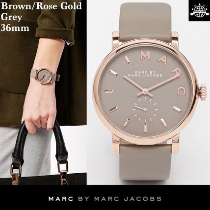 MARC JACOBS Casual Style Leather Round Quartz Watches