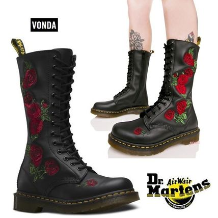 Dr Martens Flower Patterns Round Toe Rubber Sole Lace-up Leather