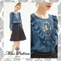 Miss Patina Crew Neck Long Sleeves Plain Other Animal Patterns