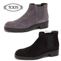 TOD'S Plain Toe Plain Leather Block Heels Chelsea Boots