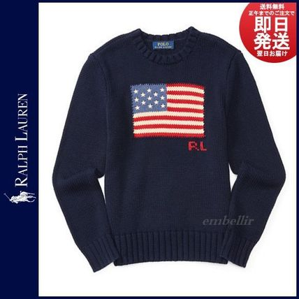 Ralph Lauren Crew Neck Pullovers Long Sleeves Cotton Knits & Sweaters