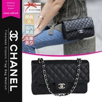 CHANEL TIMELESS CLASSICS 2WAY Plain Leather Elegant Style Logo Bags