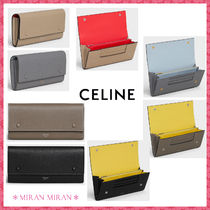 CELINE Flap Calfskin Bi-color Plain Long Wallets