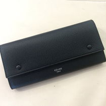 CELINE Flap Calfskin Bi-color Plain Logo Long Wallets