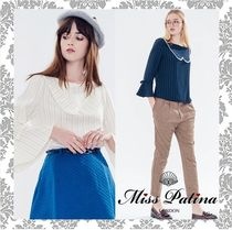 Miss Patina Stripes Boat Neck Puff Sleeves Shirts & Blouses