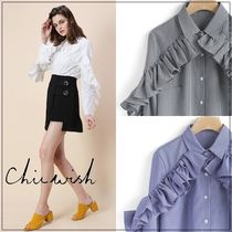 Chicwish Gingham Long Sleeves Shirts & Blouses
