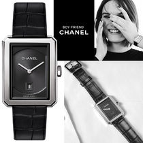 CHANEL BOY FRIEND Leather Square Quartz Watches Analog Watches