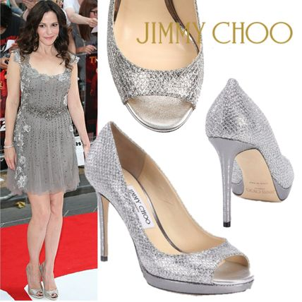 Jimmy Choo Open Toe Leather Pin Heels Party Style