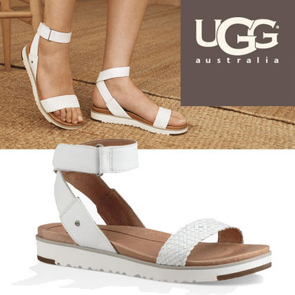 Open Toe Plain Leather Footbed Sandals Elegant Style